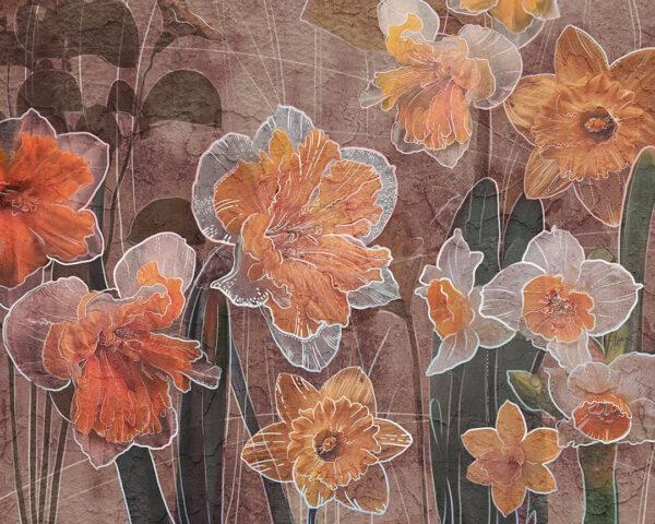 Kaufen Designer Fototapeten Narcissus Beispiel braun | 3d tapeten