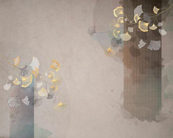 Kaufen Designer Fototapeten Nouveau Beispiel graue kleine Blüten | 3d wandtapete