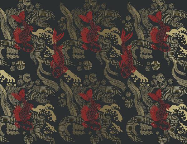 Fototapeten Koi Beispiel roter Fisch | 3d tapete
