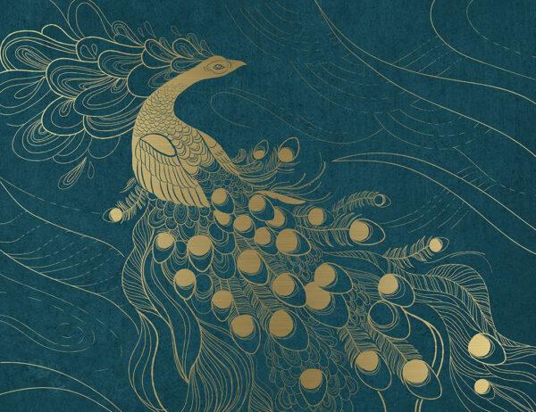 Kaufen Designer Fototapeten Peafowl Beispiel Gold und Blau | 3d tapete