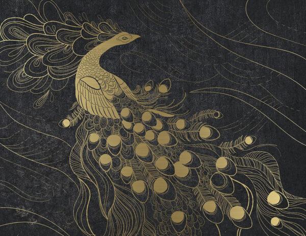 Kaufen Designer Fototapeten Peafowl Beispiel Gold und dunkel | 3d tapete