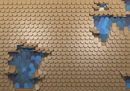 Kaufen Designer Fototapeten Sequin Beispiel holzig goldblau | 3d tapeten