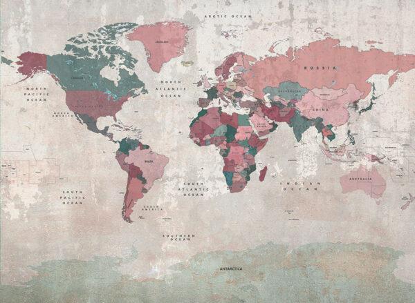 Fototapeten Weltkarte Adventurous Hues beispiel