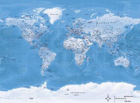 Fototapeten Weltkarte Dashing Blue Beispiel