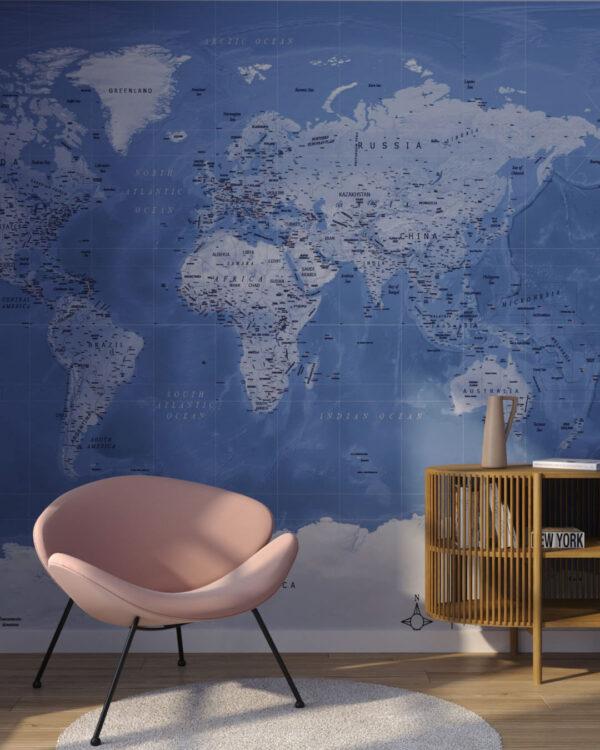 Fototapeten Weltkarte Dashing Blue | 3d tapete