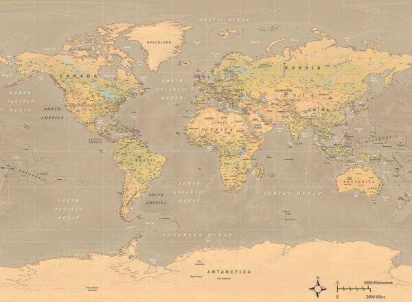 Fotomurale Weltkarte Dashing Ochre beispiel | 3d tapete