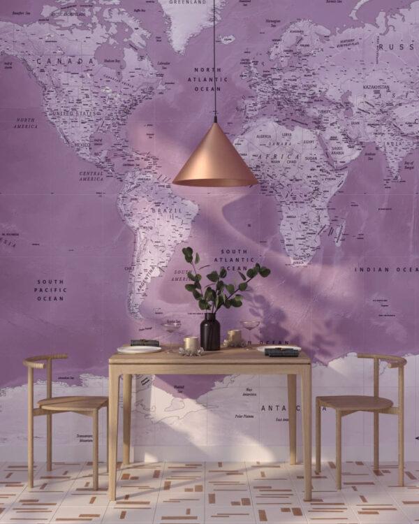 Fototapeten Weltkarte Dashing Pink | fototapeten 3d