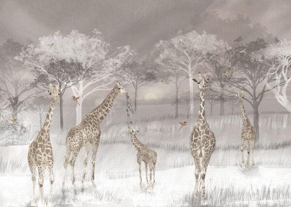 Design Fototapeten Fototapeten Giraffen Beispiel grau | fototapete natur