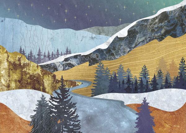 Design Fototapeten Verschneite Berge Beispiel   fototapete natur