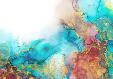 Fototapeten Goldenes Aquarell Beispiel blaue helle Farbtöne   3d tapete