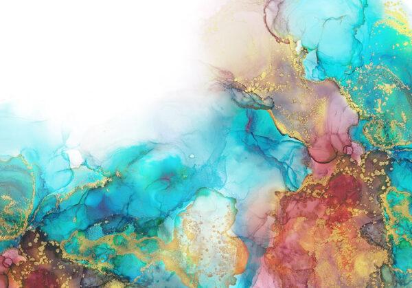 Fototapeten Goldenes Aquarell Beispiel blaue helle Farbtöne | 3d tapete