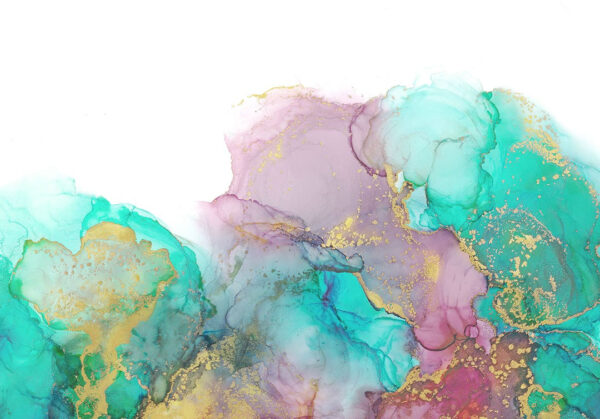 Fototapeten Goldenes Aquarell Beispiel grüne helle Blumentöne | 3d tapete