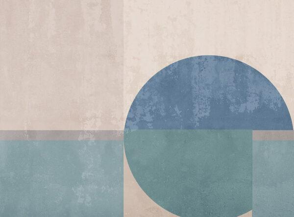 Kaufen Fototapeten Geometrie Beispiel Blau und Fleischfarbe | 3d wandtapete