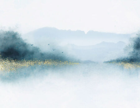 Design Fototapeten Nebbia Beispiel Blau | fototapete natur