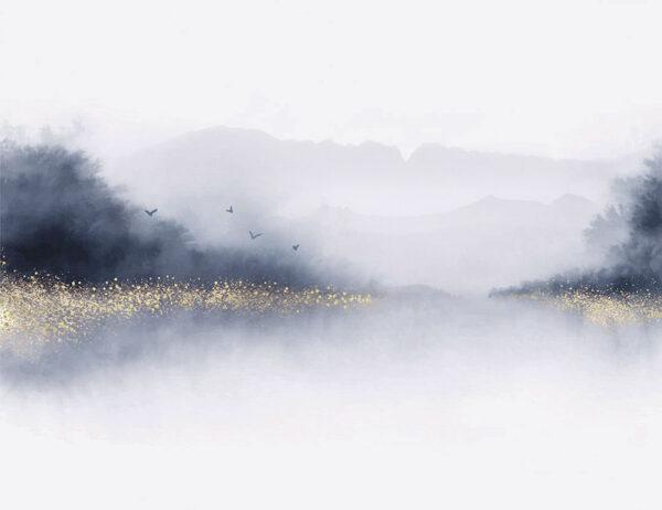 Design Fototapeten Nebbia Beispiel lila | fototapete natur