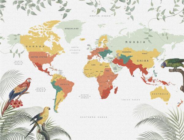 Designer Fototapeten Weltkarte Papageien Beispiel