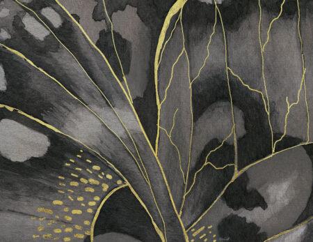 Kaufen Fototapeten Farfalla Beispiel Grautöne mit gelben Linien | 3d tapete