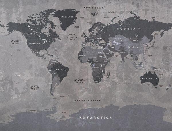 Designer Fototapeten Graphit Map Beispiel | 3d fototapete