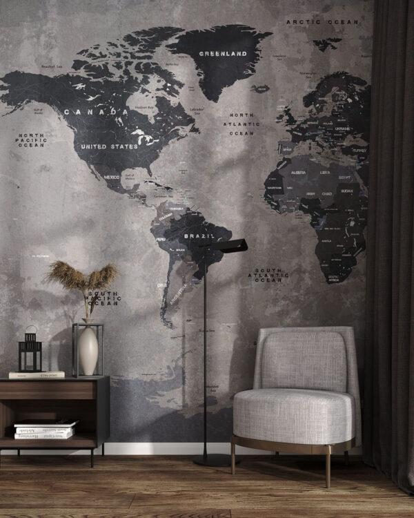 Designer Fototapeten Graphit Map | 3d fototapete