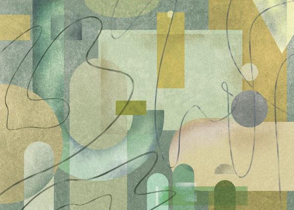 Kaufen Designer Fototapeten Riccioli Beispiel dunkelgrüne Tönung | 3d tapete