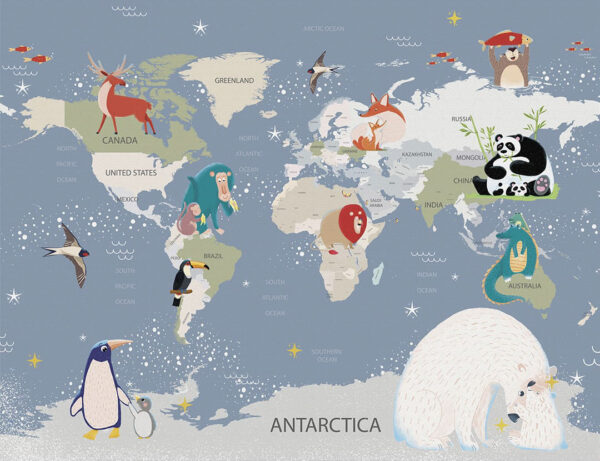 Fototapeten Tierweltkarte Beispiel