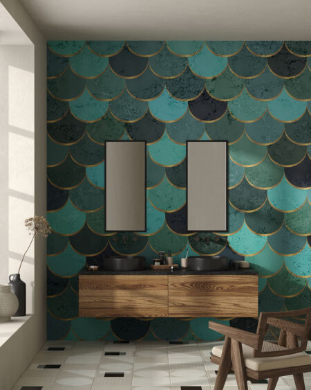 Kaufen Fototapeten Turquoise scales   3d wandtapete