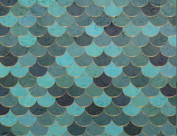 Kaufen Fototapeten Turquoise scales Beispiel die Grüntöne   3d wandtapete