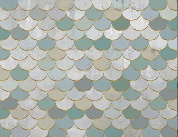 Kaufen Fototapeten Turquoise scales Beispiel Schattierungen von Grün und Fleisch   3d wandtapete