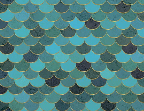 Kaufen Fototapeten Turquoise scales Beispiel Blau- und Grüntöne   3d wandtapete