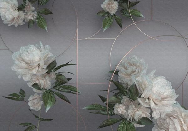 Designer Fototapeten Fototapeten Peonie dunkel grau | 3d tapeten