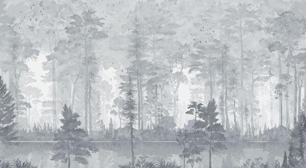 Design Fototapeten Disegno Foresta Beispiel grau | fototapete natur