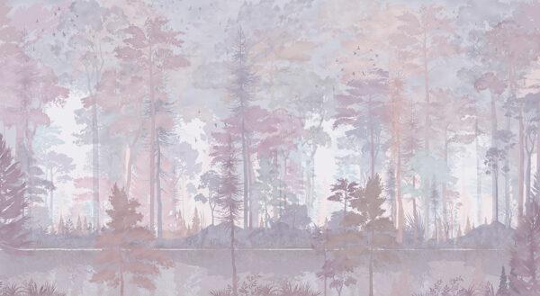 Design Fototapeten Disegno Foresta Beispiel lila | fototapete natur