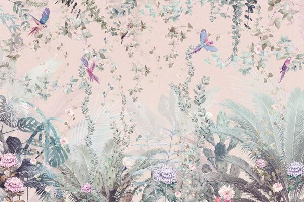 Design Fototapeten Tropische Papageien Licht Beispiel rosa   fototapete natur